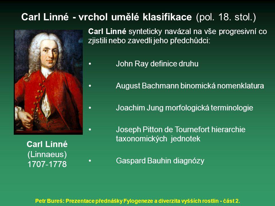 Petr Bureš: Prezentace přednášky Fylogeneze a diverzita vyšších rostlin - část 2. Carl Linné synteticky navázal na vše progresivní co zjistili nebo za
