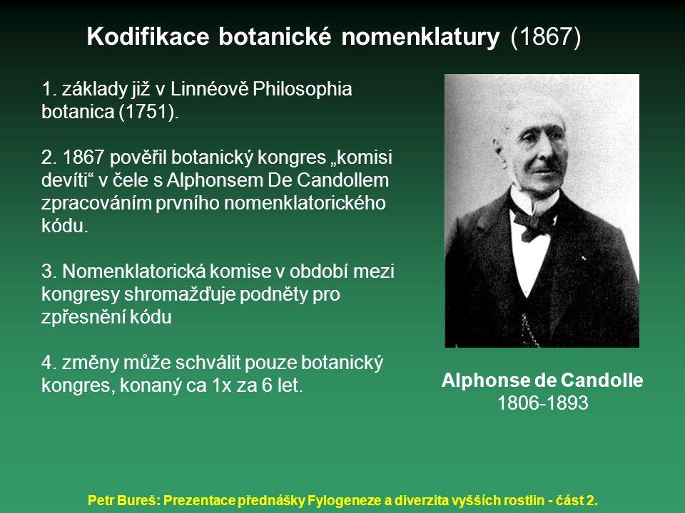 Petr Bureš: Prezentace přednášky Fylogeneze a diverzita vyšších rostlin - část 2. 1. základy již v Linnéově Philosophia botanica (1751). 2. 1867 pověř