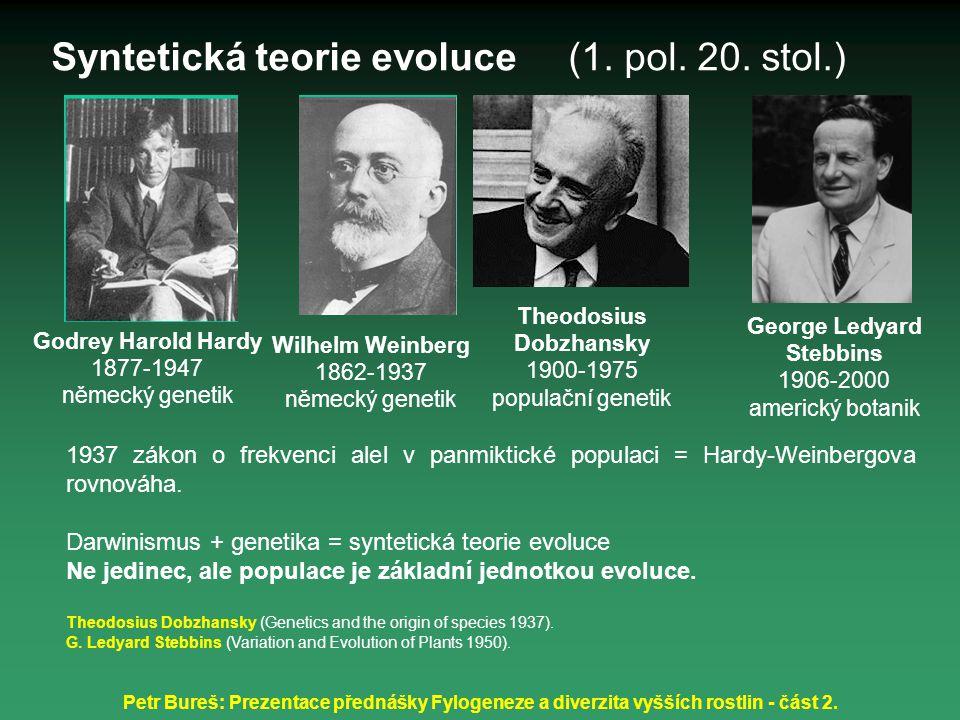 Petr Bureš: Prezentace přednášky Fylogeneze a diverzita vyšších rostlin - část 2. Theodosius Dobzhansky 1900-1975 populační genetik 1937 zákon o frekv