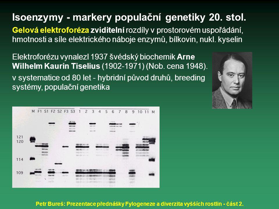 Petr Bureš: Prezentace přednášky Fylogeneze a diverzita vyšších rostlin - část 2. Isoenzymy - markery populační genetiky 20. stol. Gelová elektroforéz