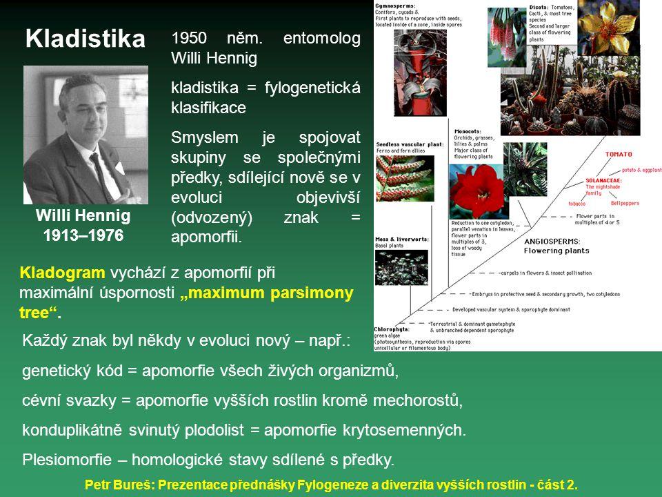 Petr Bureš: Prezentace přednášky Fylogeneze a diverzita vyšších rostlin - část 2. Willi Hennig 1913–1976 1950 něm. entomolog Willi Hennig kladistika =