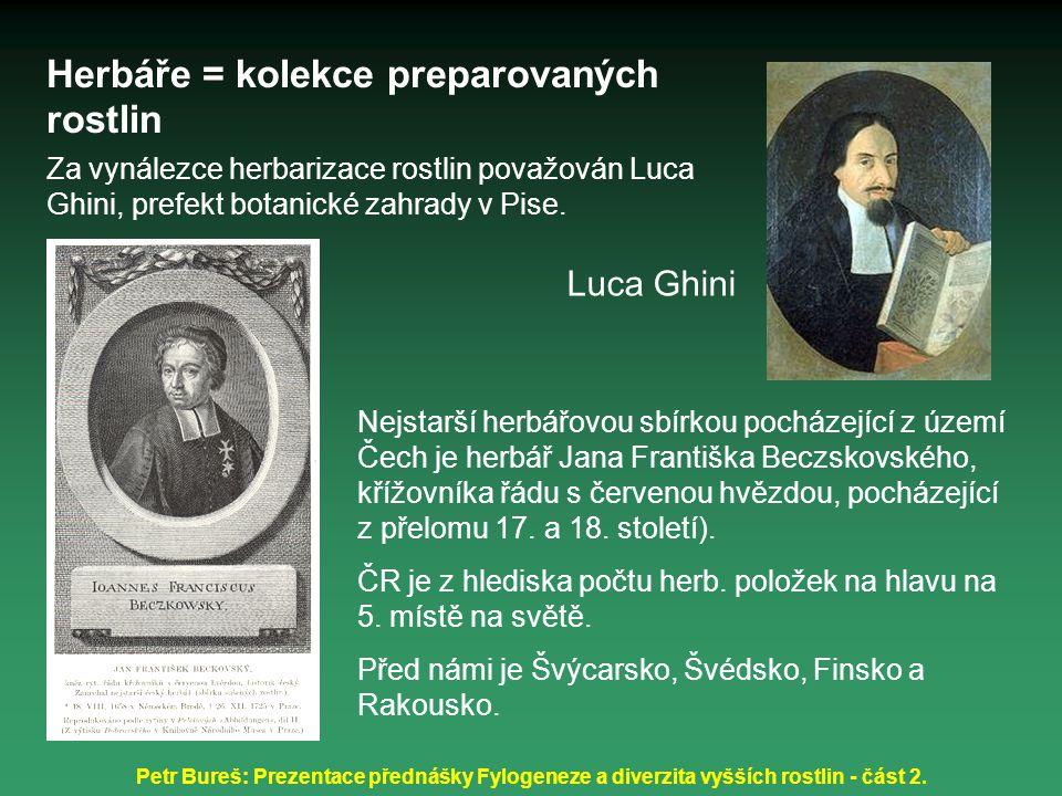 Petr Bureš: Prezentace přednášky Fylogeneze a diverzita vyšších rostlin - část 2. Herbáře = kolekce preparovaných rostlin Za vynálezce herbarizace ros