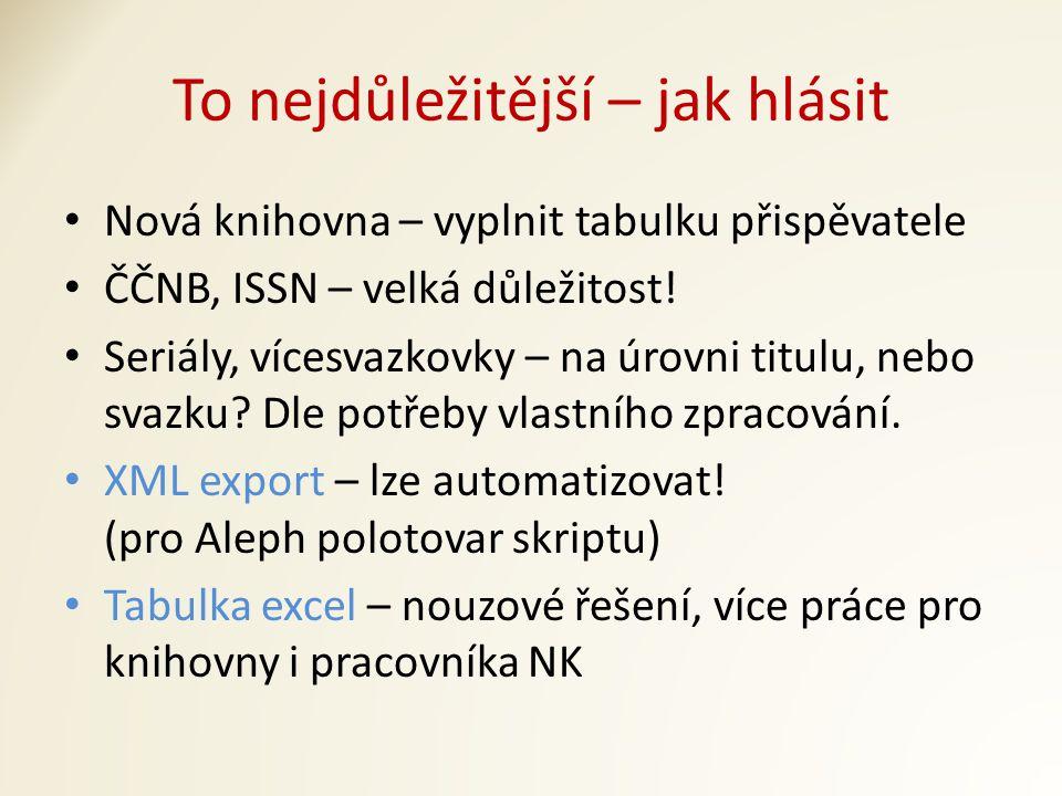 To nejdůležitější – jak hlásit Nová knihovna – vyplnit tabulku přispěvatele ČČNB, ISSN – velká důležitost.