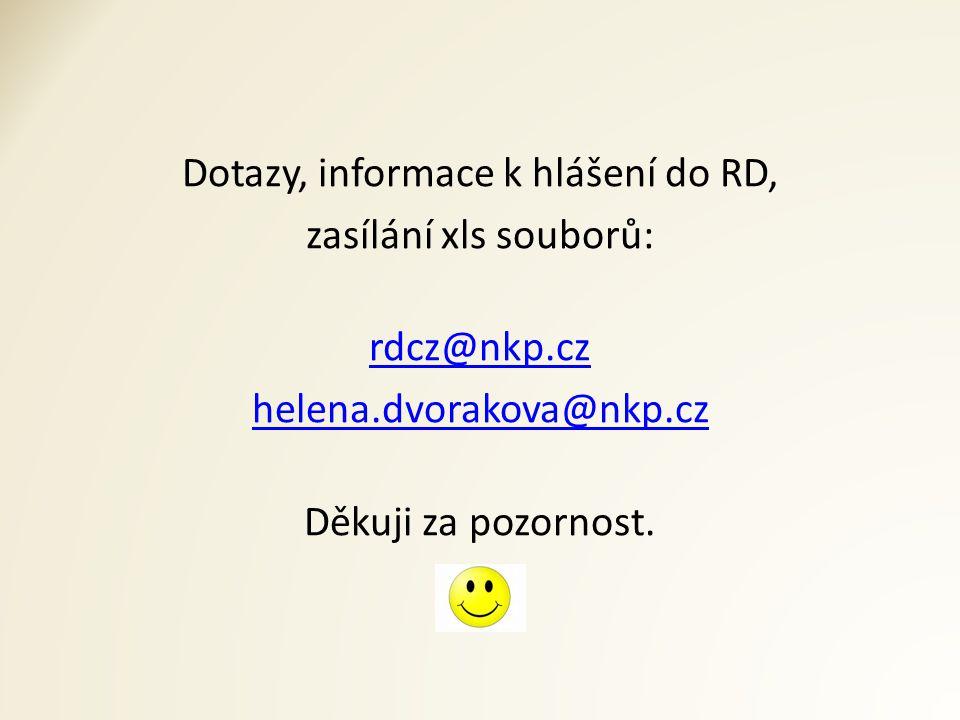 Dotazy, informace k hlášení do RD, zasílání xls souborů: rdcz@nkp.cz helena.dvorakova@nkp.cz Děkuji za pozornost.