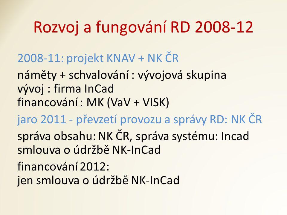 Rozvoj a fungování RD 2008-12 2008-11: projekt KNAV + NK ČR náměty + schvalování : vývojová skupina vývoj : firma InCad financování : MK (VaV + VISK) jaro 2011 - převzetí provozu a správy RD: NK ČR správa obsahu: NK ČR, správa systému: Incad smlouva o údržbě NK-InCad financování 2012: jen smlouva o údržbě NK-InCad