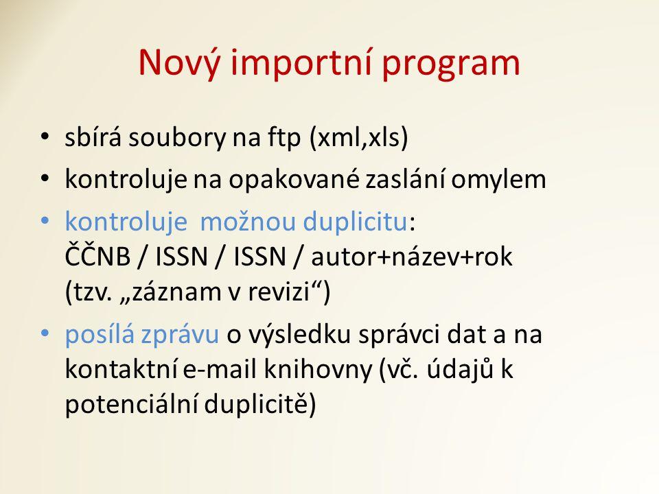 Nový importní program sbírá soubory na ftp (xml,xls) kontroluje na opakované zaslání omylem kontroluje možnou duplicitu: ČČNB / ISSN / ISSN / autor+název+rok (tzv.
