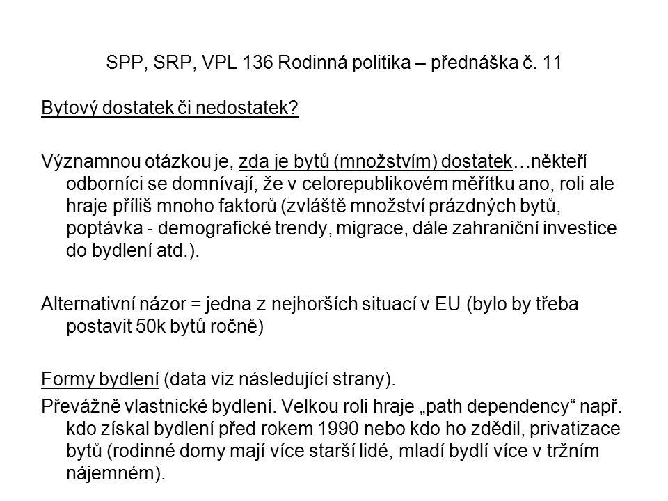 SPP, SRP, VPL 136 Rodinná politika – přednáška č. 11 Bytový dostatek či nedostatek.