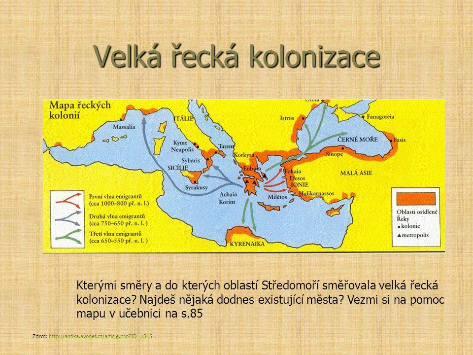 Velká řecká kolonizace Kterými směry a do kterých oblastí Středomoří směřovala velká řecká kolonizace? Najdeš nějaká dodnes existující města? Vezmi si