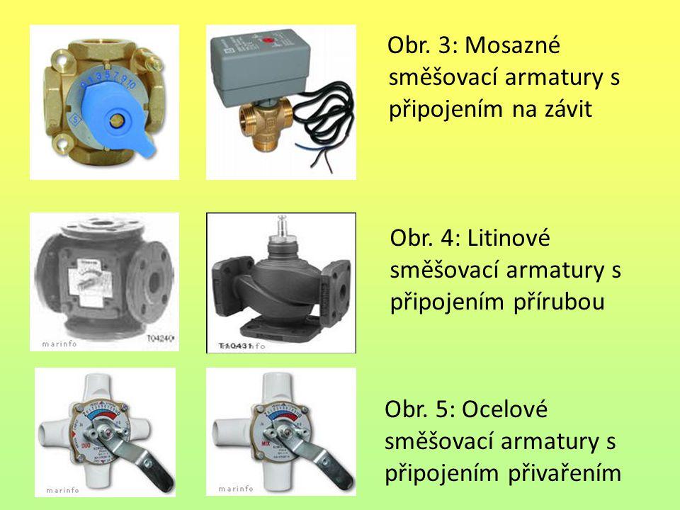 Obr. 3: Mosazné směšovací armatury s připojením na závit Obr. 4: Litinové směšovací armatury s připojením přírubou Obr. 5: Ocelové směšovací armatury