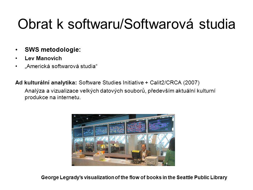 """Obrat k softwaru/Softwarová studia SWS metodologie: Lev Manovich """"Americká softwarová studia Ad kulturální analytika: Software Studies Initiative + Calit2/CRCA (2007) Analýza a vizualizace velkých datových souborů, především aktuální kulturní produkce na internetu."""