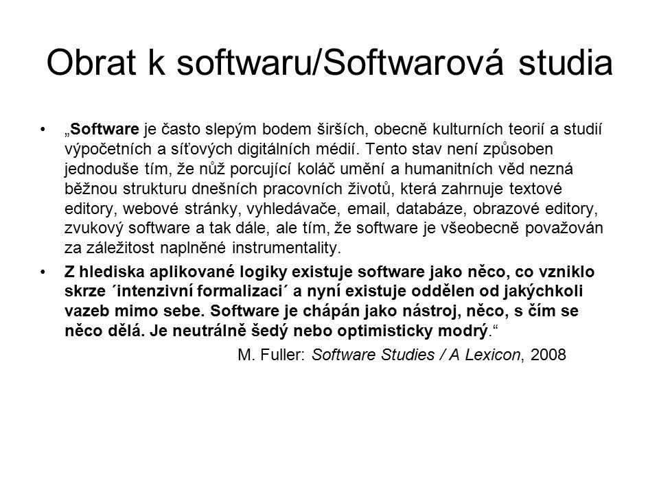 """Obrat k softwaru/Softwarová studia SWS metodologie: Lev Manovich """"Americká softwarová studia Ad hloubková remixovatelnost: """"Prostředí softwarové produkce designérům umožňuje remixovat nejen koncepty a techniky, pracovní metody a způsoby reprezentace a exprese."""