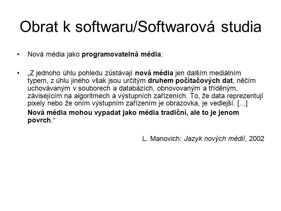 """Obrat k softwaru/Softwarová studia SWS jako studia počítačové kosmologie: """"Na jedné straně komputerizovaná média stále vykazují strukturní organizaci, která lidským uživatelům dává smysl – obrazy ukazují rozpoznatelné předměty, textové soubory sestávají z gramatických vět, virtuální prostory jsou definovány podle karteziánských souřadnic atd."""