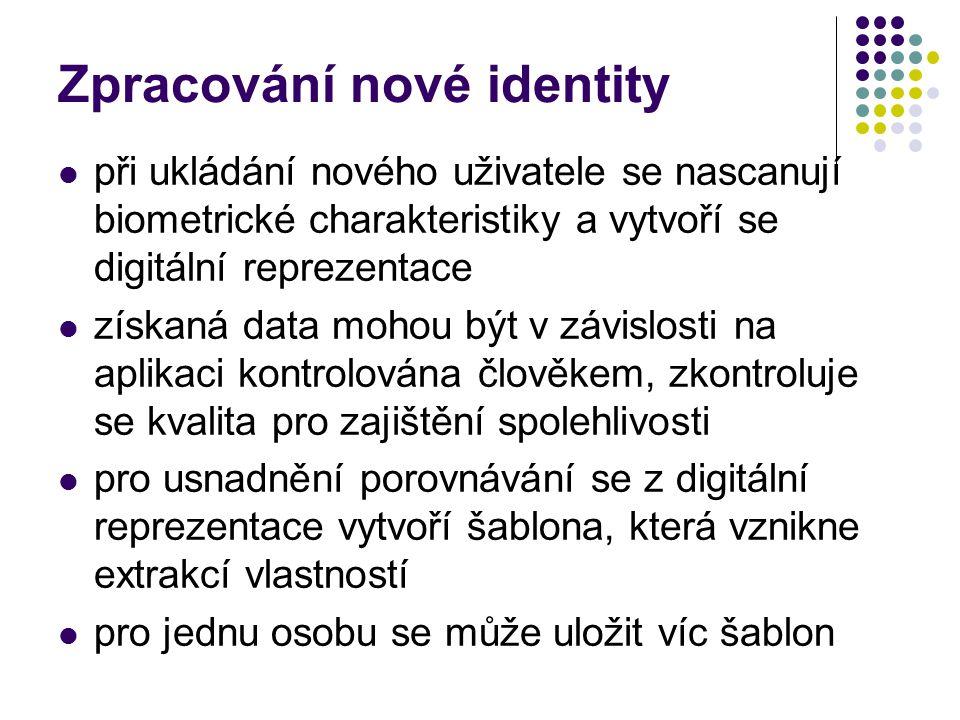Zpracování nové identity při ukládání nového uživatele se nascanují biometrické charakteristiky a vytvoří se digitální reprezentace získaná data mohou být v závislosti na aplikaci kontrolována člověkem, zkontroluje se kvalita pro zajištění spolehlivosti pro usnadnění porovnávání se z digitální reprezentace vytvoří šablona, která vznikne extrakcí vlastností pro jednu osobu se může uložit víc šablon