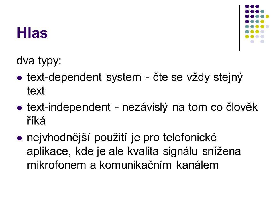 Hlas dva typy: text-dependent system - čte se vždy stejný text text-independent - nezávislý na tom co člověk říká nejvhodnější použití je pro telefonické aplikace, kde je ale kvalita signálu snížena mikrofonem a komunikačním kanálem
