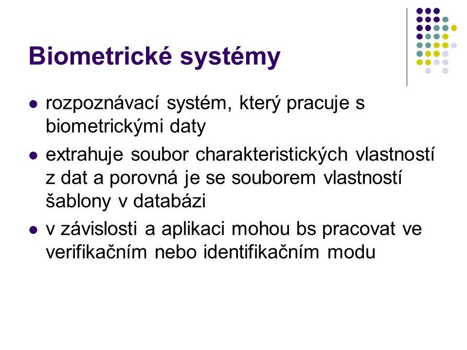 Biometrické systémy rozpoznávací systém, který pracuje s biometrickými daty extrahuje soubor charakteristických vlastností z dat a porovná je se souborem vlastností šablony v databázi v závislosti a aplikaci mohou bs pracovat ve verifikačním nebo identifikačním modu