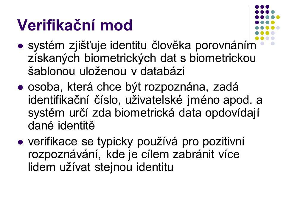 Verifikační mod systém zjišťuje identitu člověka porovnáním získaných biometrických dat s biometrickou šablonou uloženou v databázi osoba, která chce být rozpoznána, zadá identifikační číslo, uživatelské jméno apod.