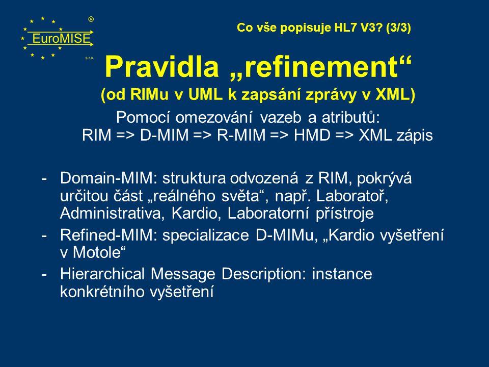 """Pravidla """"refinement"""" (od RIMu v UML k zapsání zprávy v XML) Pomocí omezování vazeb a atributů: RIM => D-MIM => R-MIM => HMD => XML zápis -Domain-MIM:"""