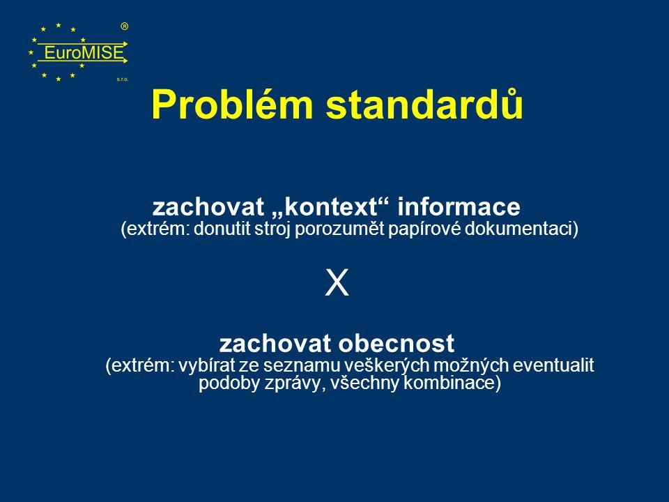 """Problém standardů zachovat """"kontext"""" informace (extrém: donutit stroj porozumět papírové dokumentaci) X zachovat obecnost (extrém: vybírat ze seznamu"""