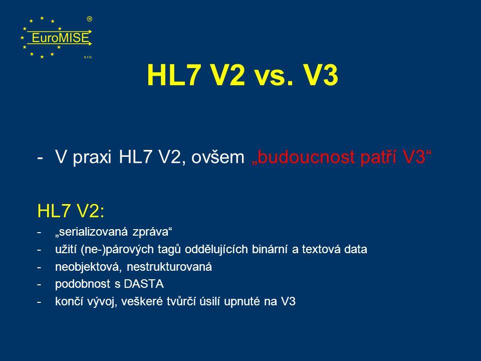 """HL7 V2 vs. V3 -V praxi HL7 V2, ovšem """"budoucnost patří V3"""" HL7 V2: -""""serializovaná zpráva"""" -užití (ne-)párových tagů oddělujících binární a textová da"""