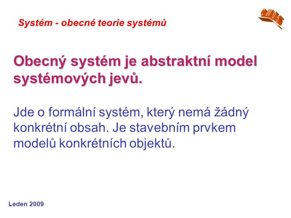 Leden 2009 Obecný systém je abstraktní model systémových jevů.