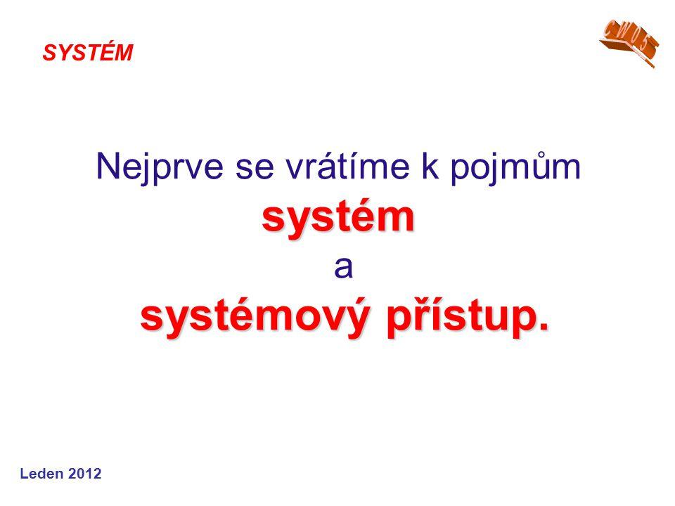 Leden 2012 systém systémový přístup. Nejprve se vrátíme k pojmům systém a systémový přístup. SYSTÉM