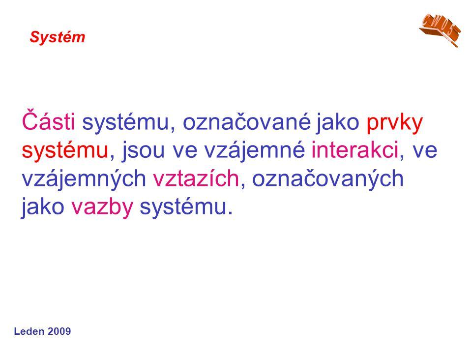 Leden 2009 Části systému, označované jako prvky systému, jsou ve vzájemné interakci, ve vzájemných vztazích, označovaných jako vazby systému.