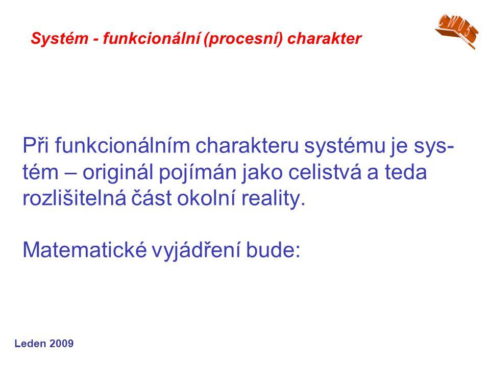 Leden 2009 Při funkcionálním charakteru systému je sys- tém – originál pojímán jako celistvá a teda rozlišitelná část okolní reality.