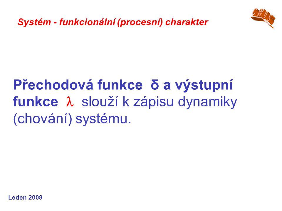 Leden 2009 Přechodová funkce δ a výstupní funkce slouží k zápisu dynamiky (chování) systému.