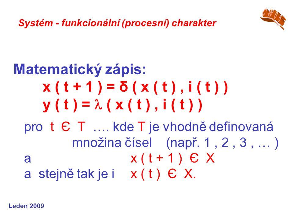 Leden 2009 Matematický zápis: x ( t + 1 ) = δ ( x ( t ), i ( t ) ) y ( t ) = ( x ( t ), i ( t ) ) pro t Є T ….