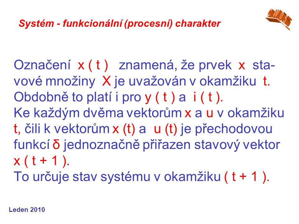 Leden 2010 Označení x ( t ) znamená, že prvek x sta- vové množiny X je uvažován v okamžiku t.