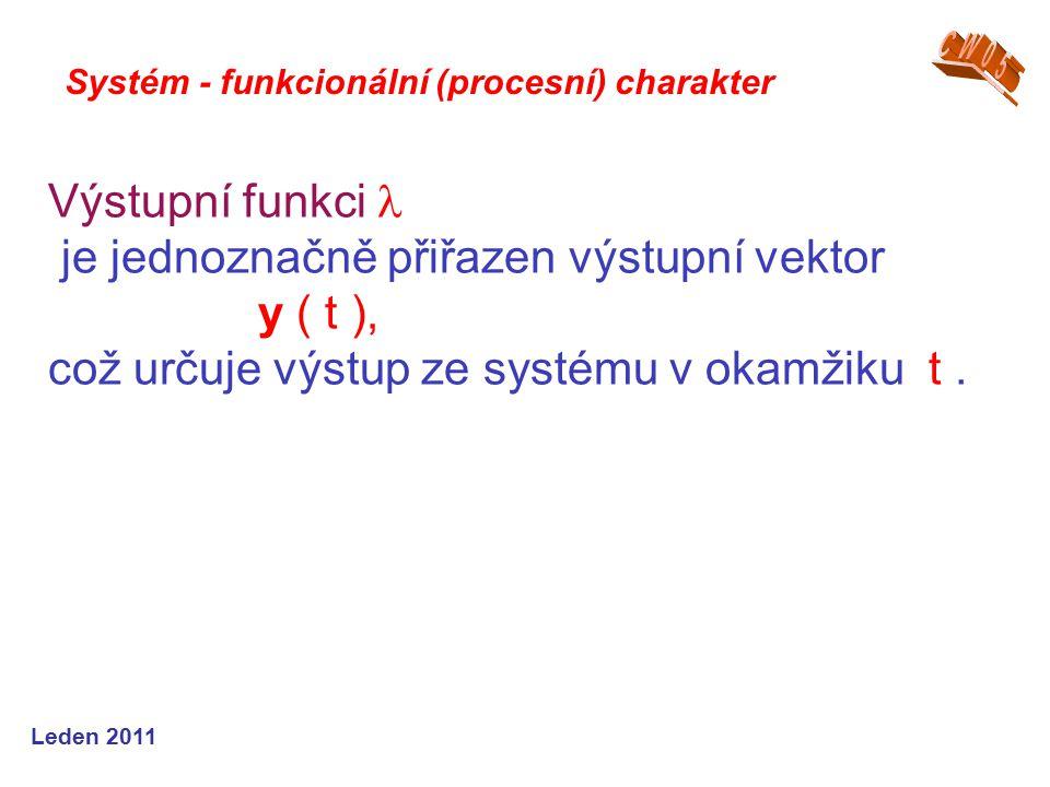 Leden 2011 Výstupní funkci je jednoznačně přiřazen výstupní vektor y ( t ), což určuje výstup ze systému v okamžiku t.