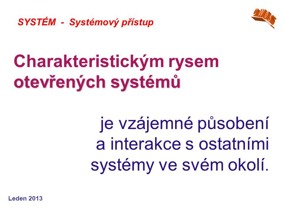 Leden 2013 otevřených systémů Charakteristickým rysem otevřených systémů SYSTÉM - Systémový přístup je vzájemné působení a interakce s ostatními systémy ve svém okolí.