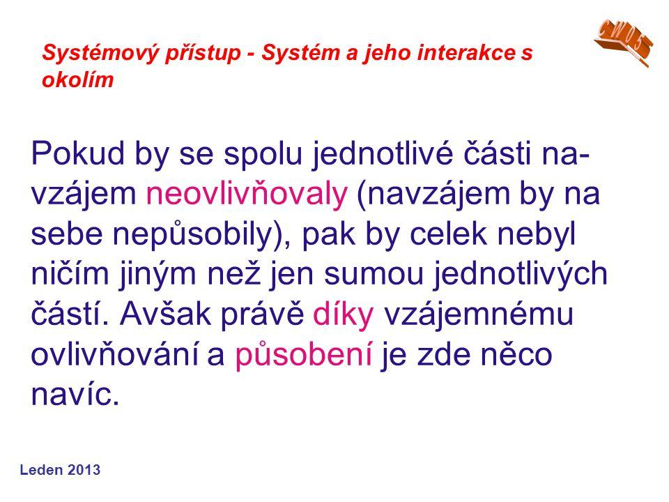 Leden 2013 Pokud by se spolu jednotlivé části na- vzájem neovlivňovaly (navzájem by na sebe nepůsobily), pak by celek nebyl ničím jiným než jen sumou jednotlivých částí.
