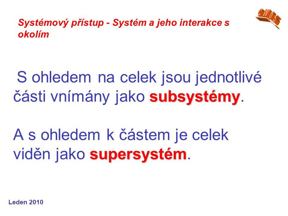 Leden 2010 subsystémy supersystém S ohledem na celek jsou jednotlivé části vnímány jako subsystémy.