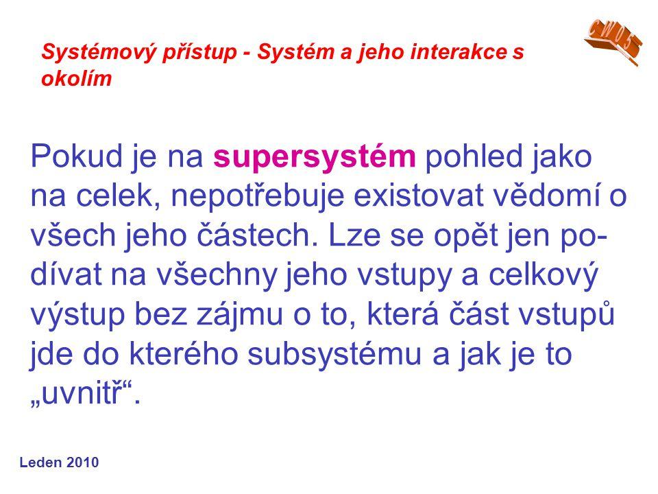 Leden 2010 Pokud je na supersystém pohled jako na celek, nepotřebuje existovat vědomí o všech jeho částech.