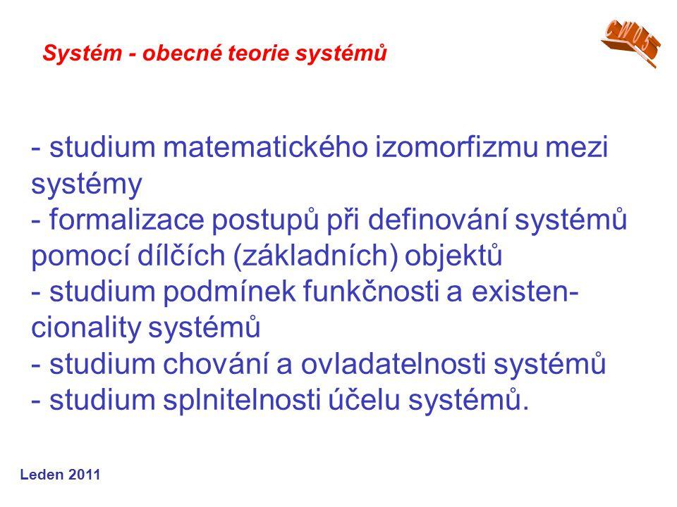 Leden 2011 - studium matematického izomorfizmu mezi systémy - formalizace postupů při definování systémů pomocí dílčích (základních) objektů - studium podmínek funkčnosti a existen- cionality systémů - studium chování a ovladatelnosti systémů - studium splnitelnosti účelu systémů.