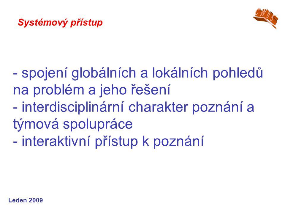 Leden 2009 - spojení globálních a lokálních pohledů na problém a jeho řešení - interdisciplinární charakter poznání a týmová spolupráce - interaktivní přístup k poznání Systémový přístup