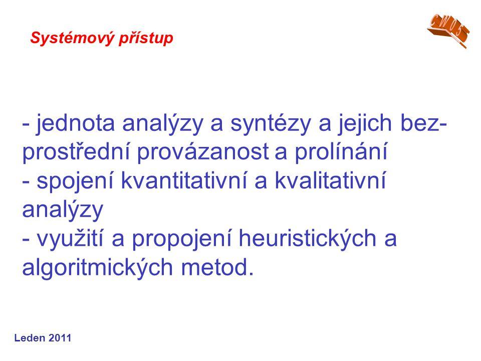 Leden 2011 - jednota analýzy a syntézy a jejich bez- prostřední provázanost a prolínání - spojení kvantitativní a kvalitativní analýzy - využití a propojení heuristických a algoritmických metod.