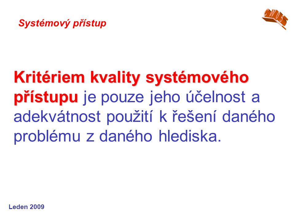 Leden 2009 Kritériem kvality systémového přístupu Kritériem kvality systémového přístupu je pouze jeho účelnost a adekvátnost použití k řešení daného problému z daného hlediska.