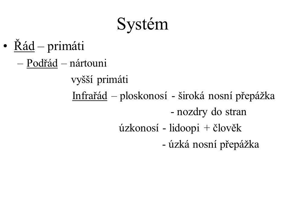 Systém Řád – primáti –Podřád – nártouni vyšší primáti Infrařád – ploskonosí - široká nosní přepážka - nozdry do stran úzkonosí - lidoopi + člověk - úzká nosní přepážka
