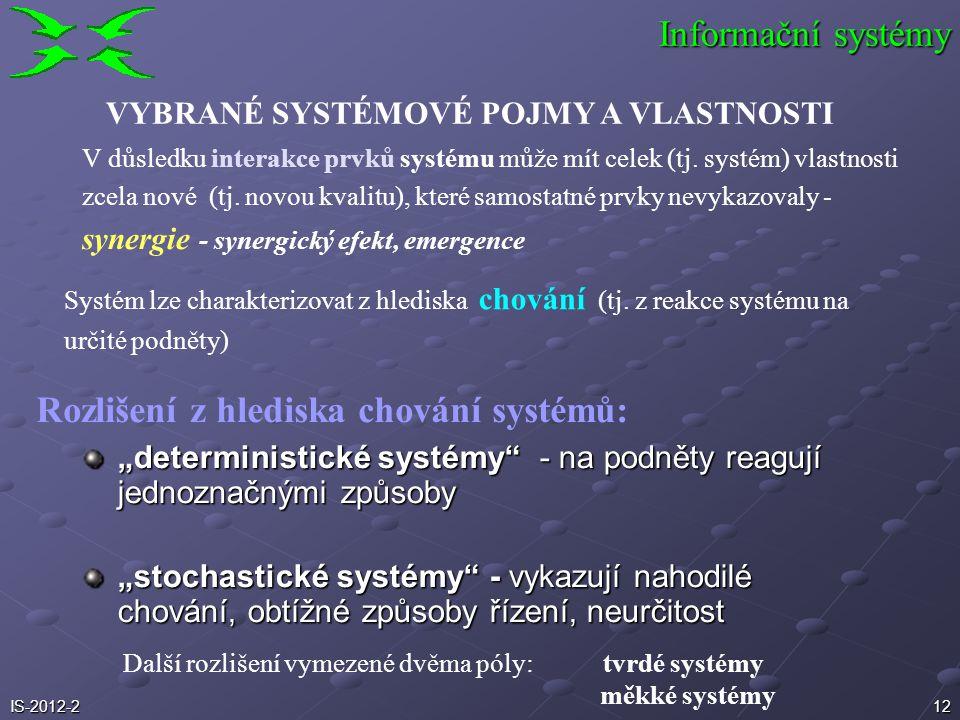 """12 """"deterministické systémy"""" - na podněty reagují jednoznačnými způsoby """"stochastické systémy"""" - vykazují nahodilé chování, obtížné způsoby řízení, ne"""