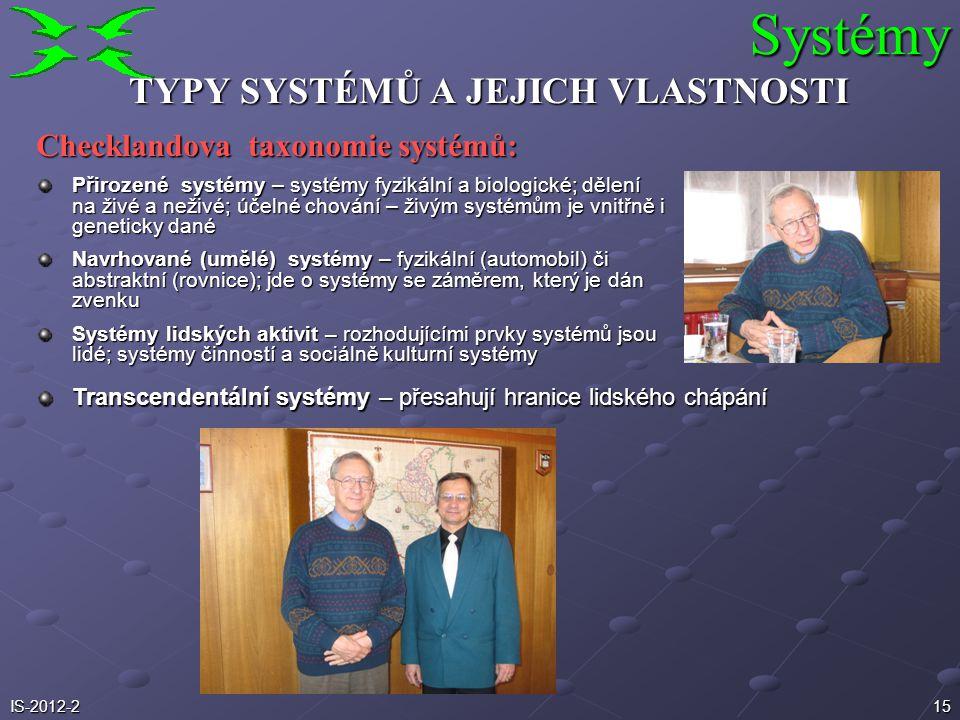 15 TYPY SYSTÉMŮ A JEJICH VLASTNOSTI Checklandova taxonomie systémů: Přirozené systémy – systémy fyzikální a biologické; dělení na živé a neživé; účeln
