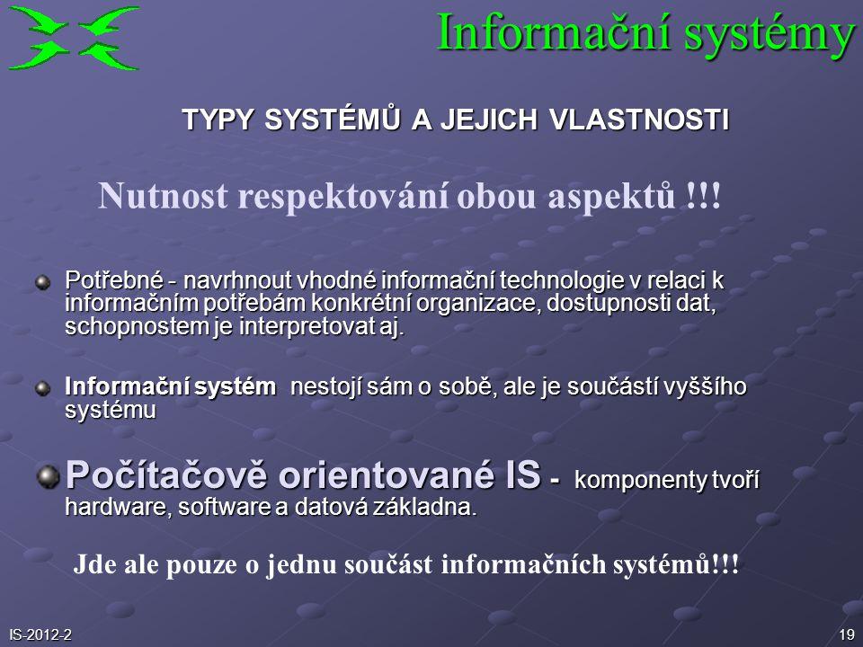 19 Potřebné - navrhnout vhodné informační technologie v relaci k informačním potřebám konkrétní organizace, dostupnosti dat, schopnostem je interpreto