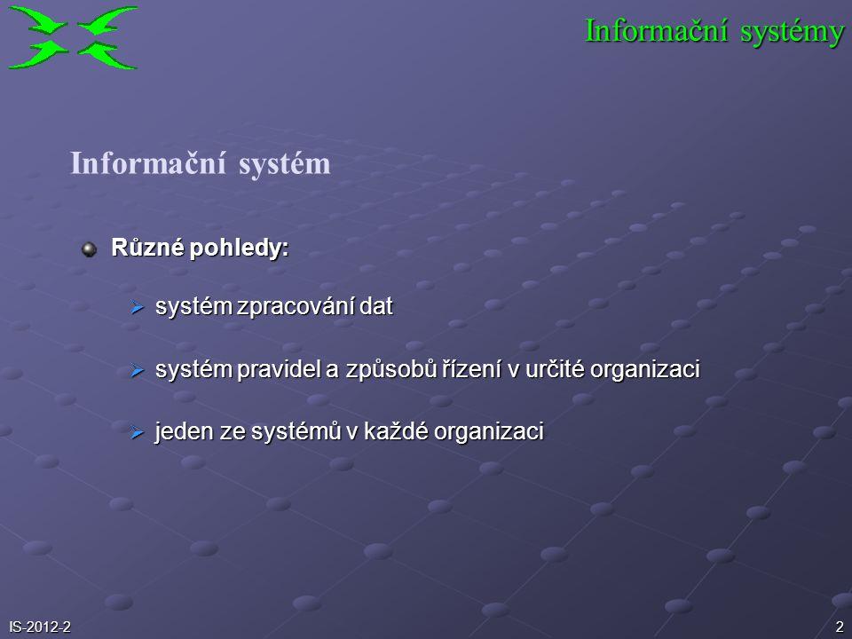 2 Různé pohledy:  systém zpracování dat  systém pravidel a způsobů řízení v určité organizaci  jeden ze systémů v každé organizaci Informační systé