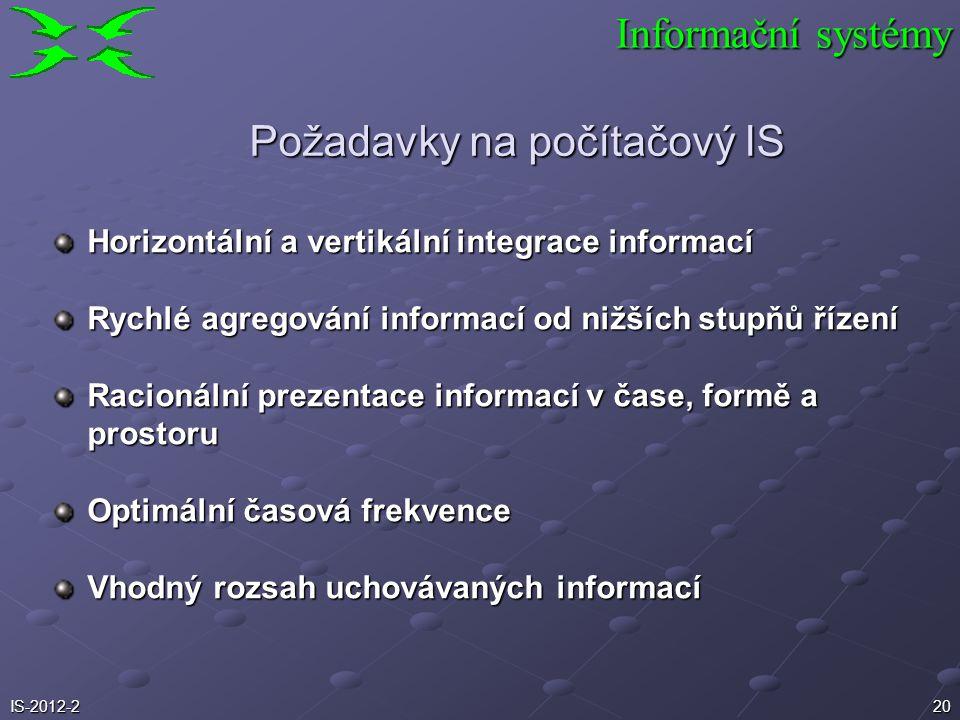 20 Informační systémy Požadavky na počítačový IS Horizontální a vertikální integrace informací Rychlé agregování informací od nižších stupňů řízení Ra
