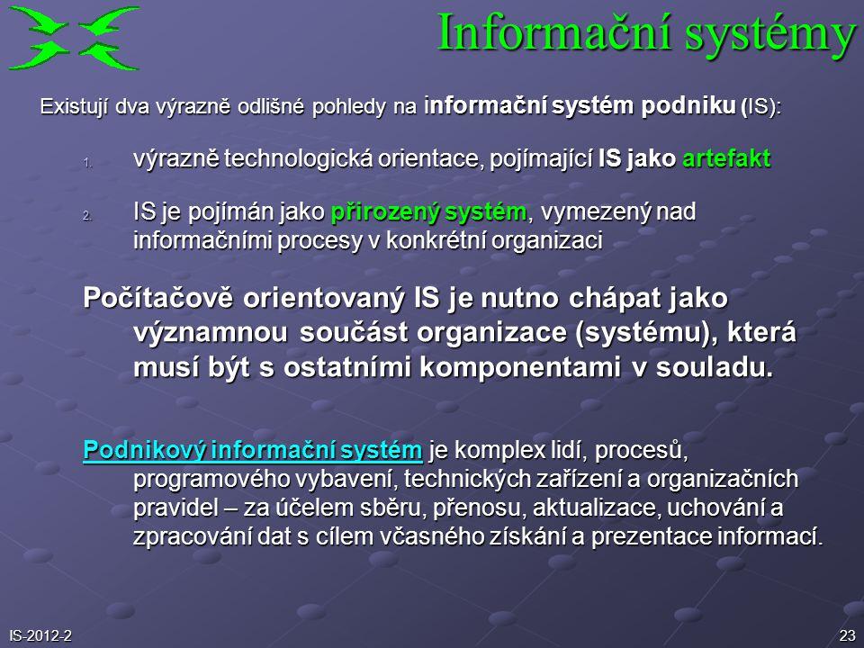 23 Existují dva výrazně odlišné pohledy na informační systém podniku (IS): 1. výrazně technologická orientace, pojímající IS jako artefakt 2. IS je po