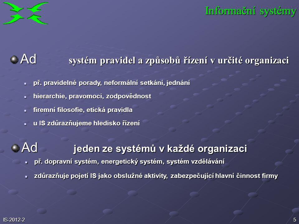 5 Ad systém pravidel a způsobů řízení v určité organizaci Ad jeden ze systémů v každé organizaci př. dopravní systém, energetický systém, systém vzděl