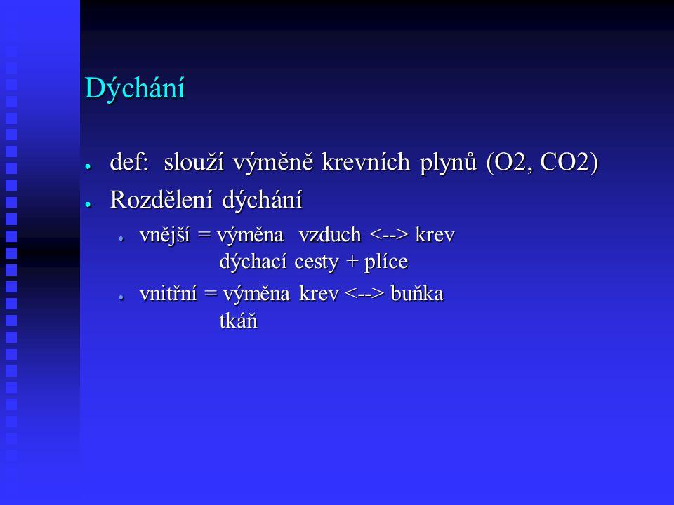 Dýchání ● def: slouží výměně krevních plynů (O2, CO2) ● Rozdělení dýchání ● vnější = výměna vzduch krev dýchací cesty + plíce ● vnitřní = výměna krev buňka tkáň