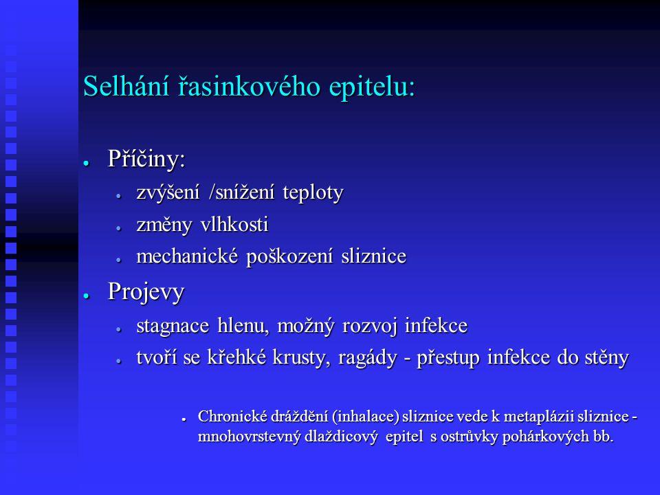 Selhání řasinkového epitelu: ● Příčiny: ● zvýšení /snížení teploty ● změny vlhkosti ● mechanické poškození sliznice ● Projevy ● stagnace hlenu, možný rozvoj infekce ● tvoří se křehké krusty, ragády - přestup infekce do stěny ● Chronické dráždění (inhalace) sliznice vede k metaplázii sliznice - mnohovrstevný dlaždicový epitel s ostrůvky pohárkových bb.