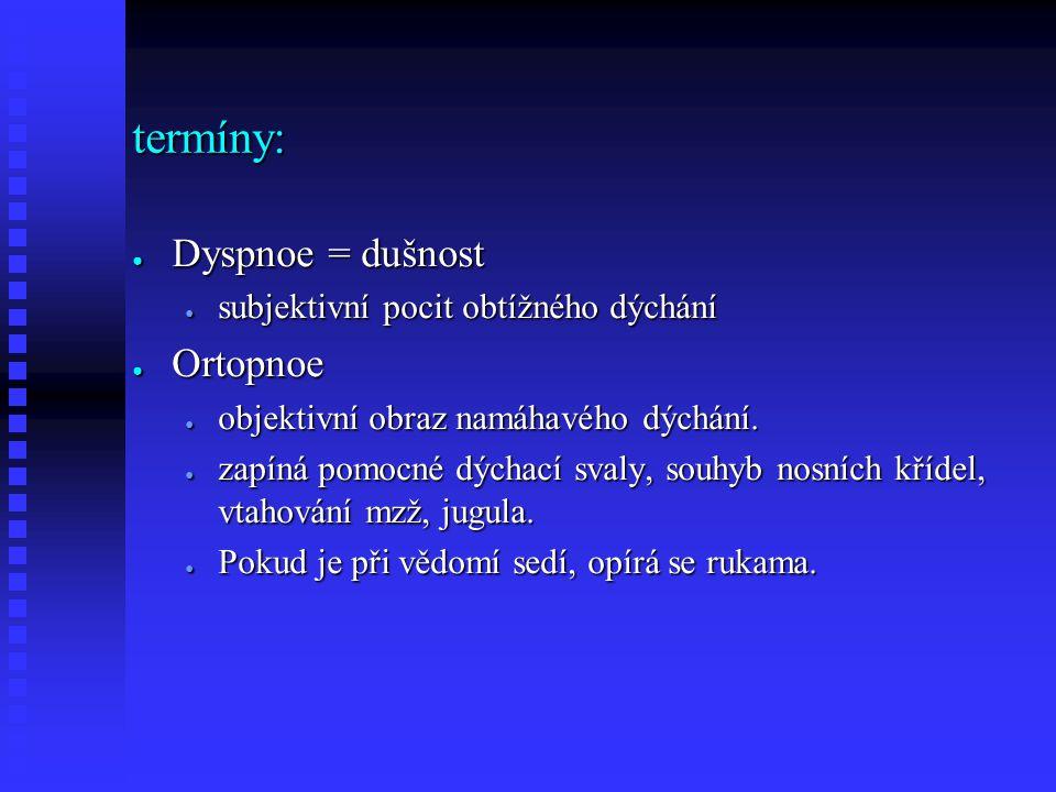 termíny: ● Dyspnoe = dušnost ● subjektivní pocit obtížného dýchání ● Ortopnoe ● objektivní obraz namáhavého dýchání.